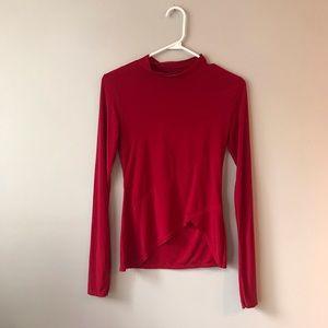 🦋3/50$ PLT asymmetrical red long sleeve top